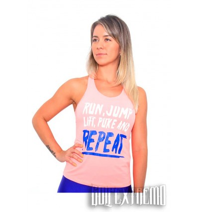Camiseta Tirantes Kvra Trip Run - Salmón
