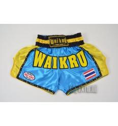 Shorts Muay Thai Wai Kru Retro Celeste - Amarillo